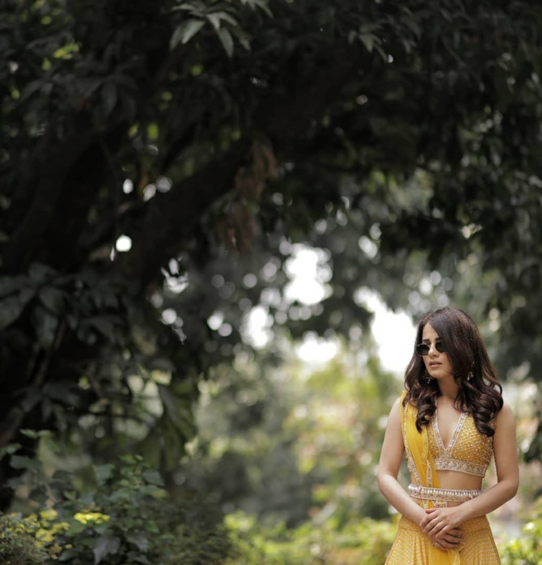 Radhika Medan in golden yellow lehenga by Ridhi Mehra