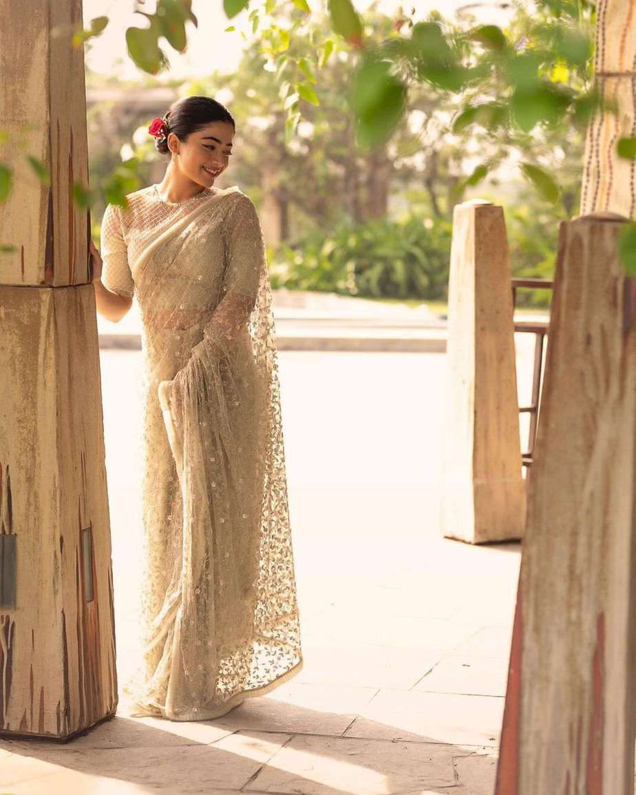 Rashmika Mandanna in an ivory saree for Sulthan trailer launch event