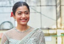 Rashmika Mandanna in pastel blue saree for Sulthan trailer launch event