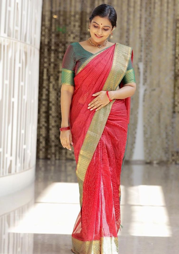 Remya Nambessan in red mangalgiri saree by Thenmozhi designs-1