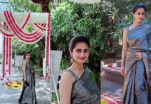 Shamlee in black pattu saree for a event-featured