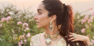 Shraddha Kapoor in gold and powder blue lehenga by Padmasitaa at priyaank sharma's wedding-2