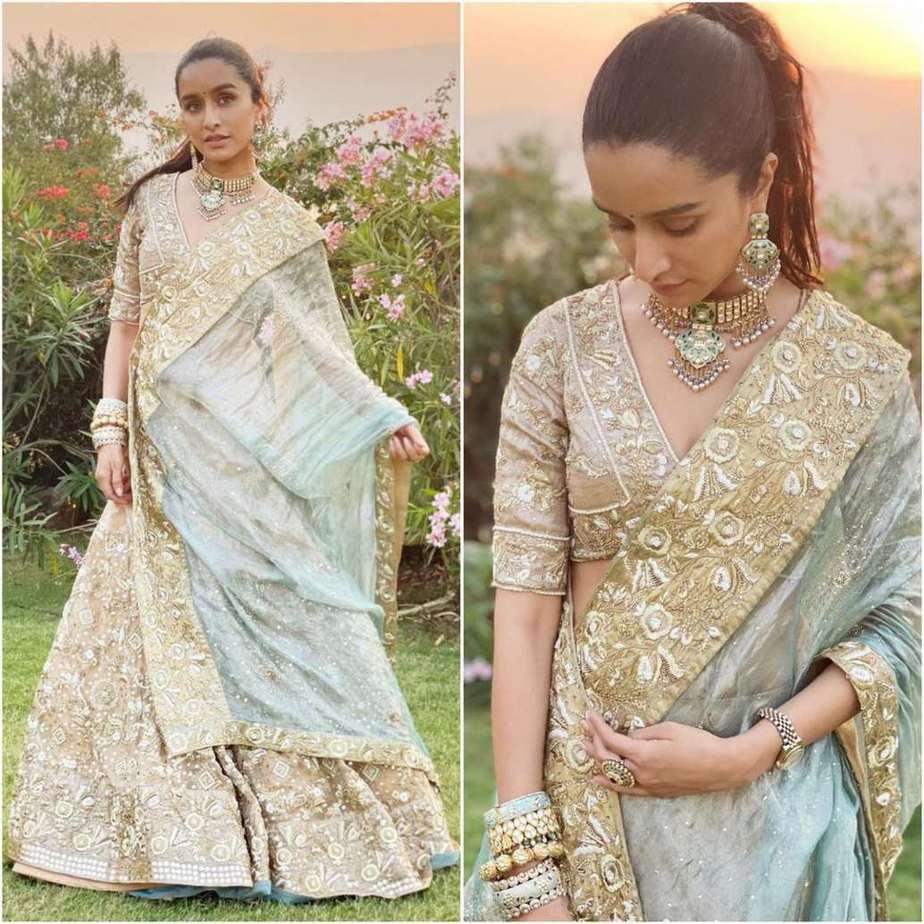 Shraddha Kapoor in gold and powder blue lehenga by Padmasitaa at priyaank sharma's wedding-4