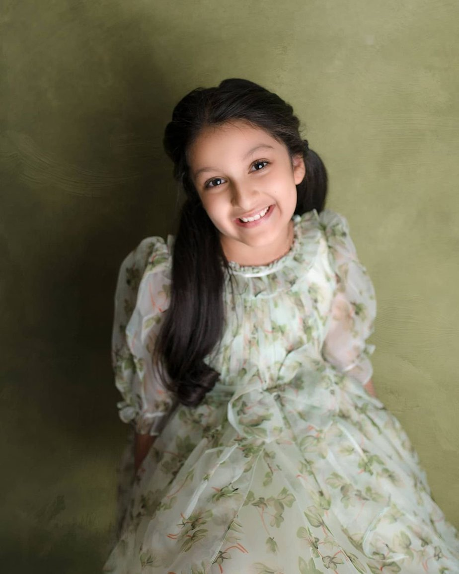 Sitara Ghattamaneni in a green dress by Janya's closet-1