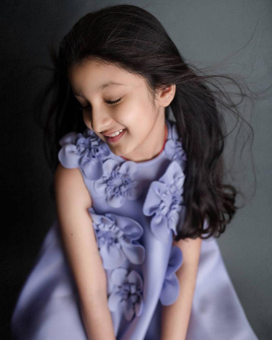 Sitara Ghattamaneni in a lilac frock by Janya's closet-4