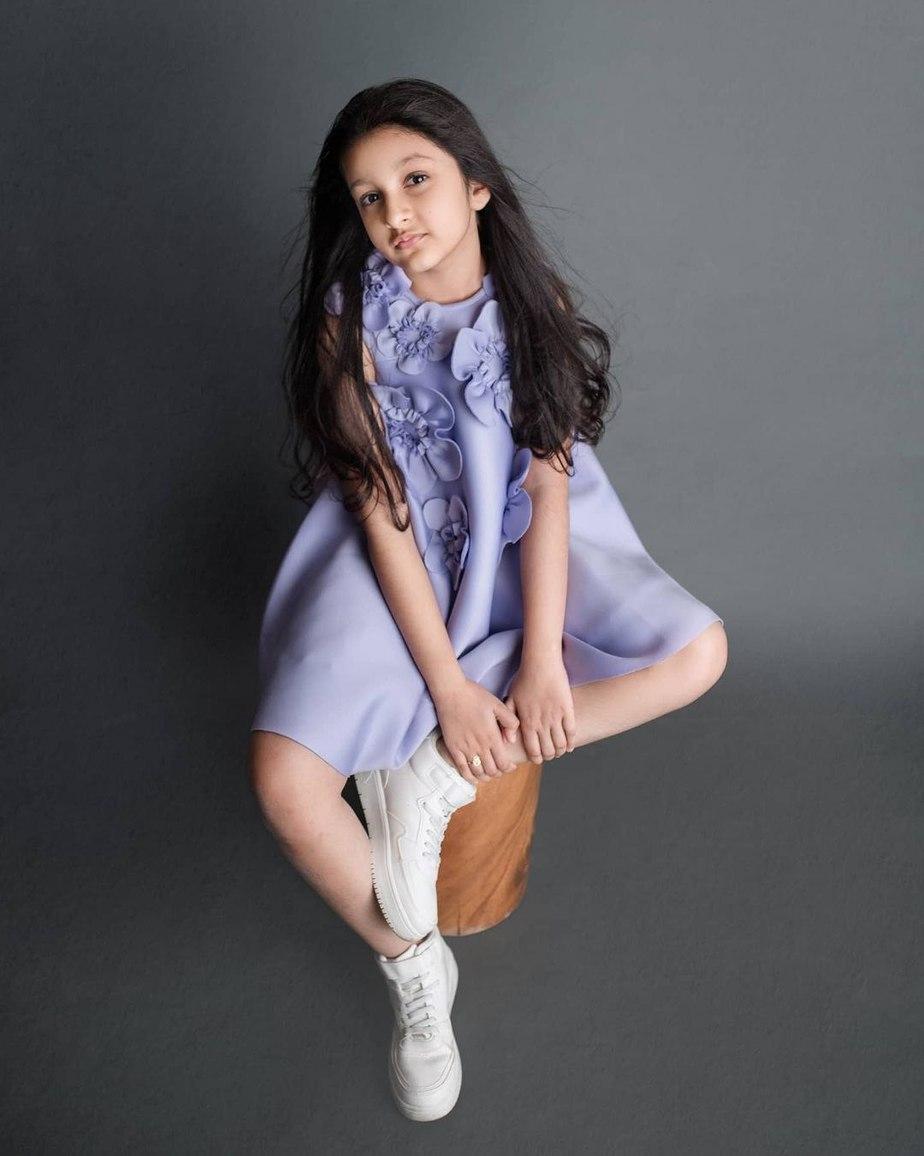 Sitara Ghattamaneni in a lilac frock by Janya's closet