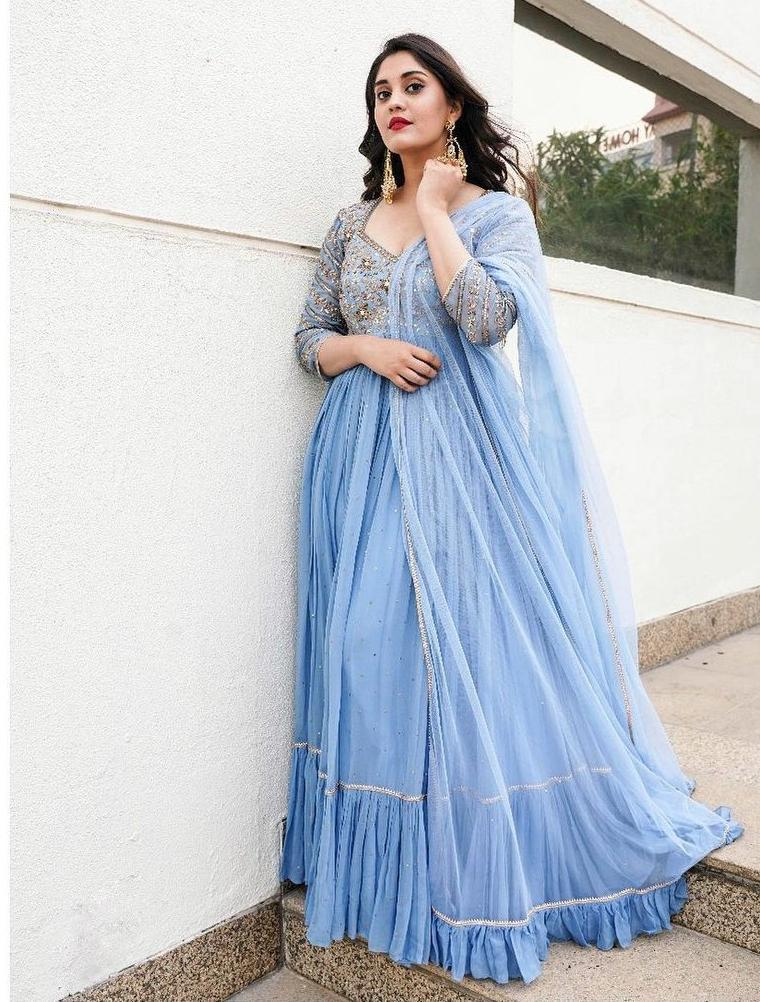 Surbhi Puranik in powder blue anrklai by Nallamz for Sashi promotions