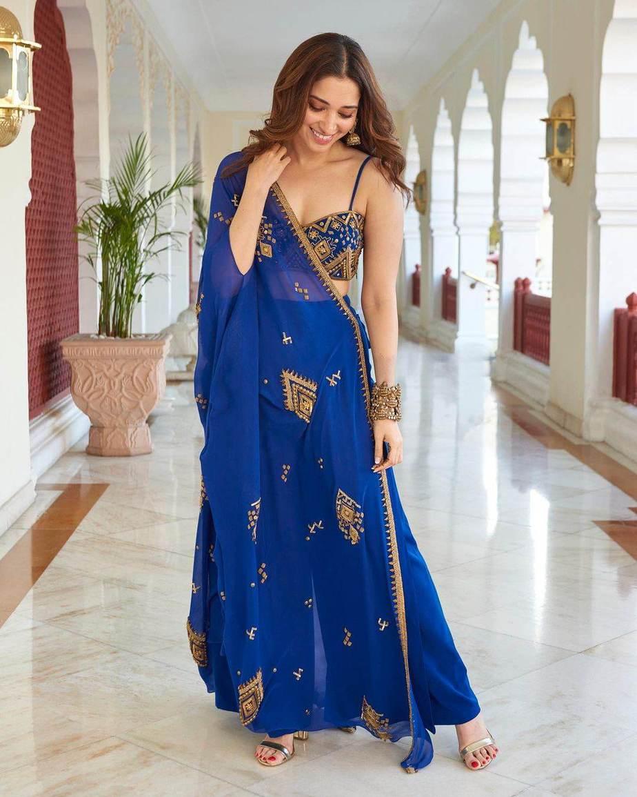 Tamannaah Bhatia in blue ethnic wear by Ohaila Khan for friend's mehndi-1