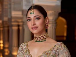 Tamannaah Bhatia in champagne gold lehenga by ohaila Khan for a friend's wedding-1