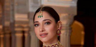 Tamannaah Bhatia in champagne gold lehenga by ohaila Khan for a friend's wedding-1