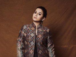 Vidya Balan in a black jacket by Dusala