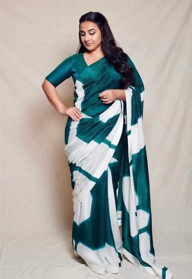Vidya Balan in a bottle green saree by Vedhika M-2