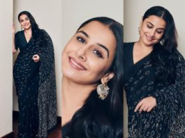 Vidya Balan in a navy blue saree by Abraham and Thakore-featured