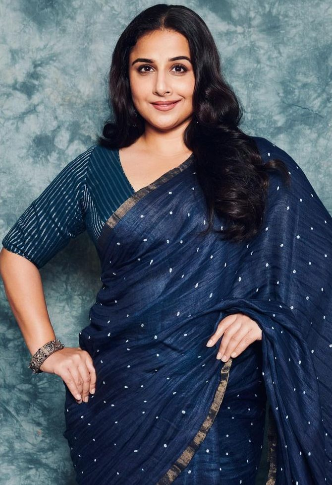 Vidya Balan in a studio medium green saree for an ad shoot