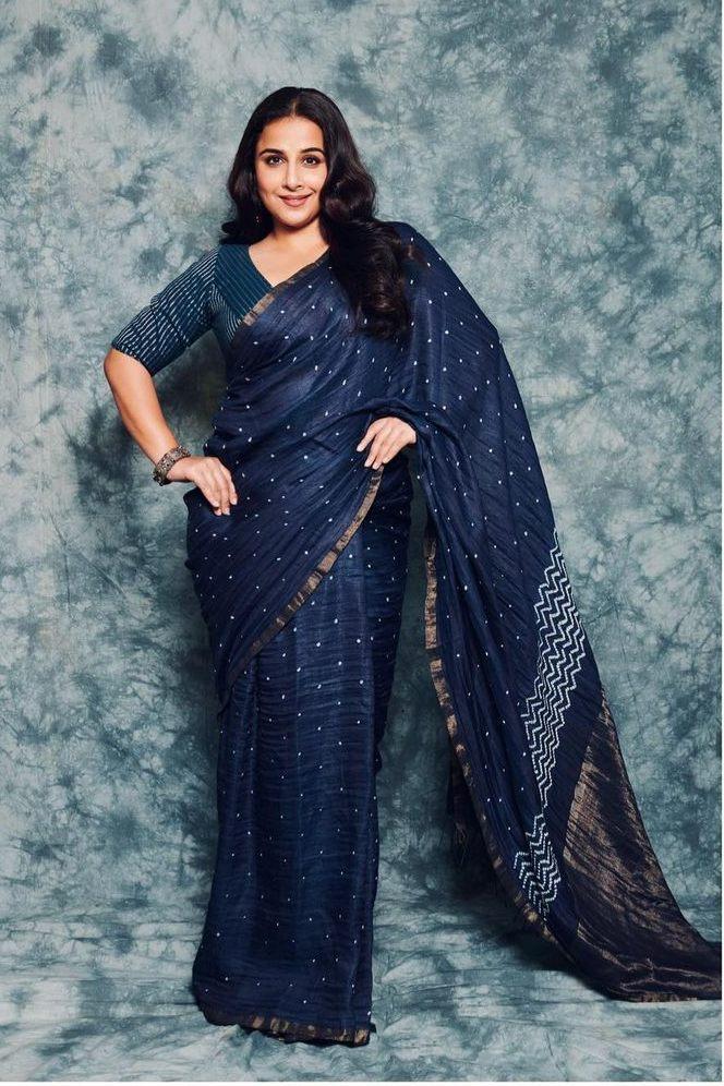 Vidya Balan in a studio medium saree for an ad shoot-1