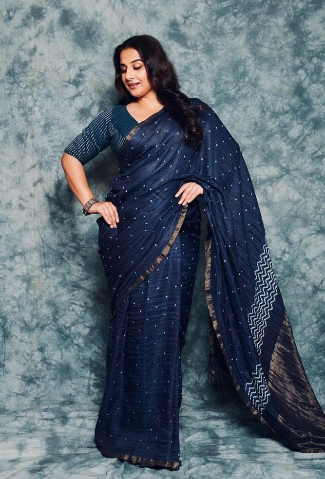 Vidya Balan in a studio medium saree for an ad shoot-2