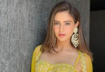 Aamna sharif in yellow dress from the label disha patil