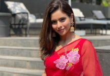 aamna sharif in red floral saree for maha shivratri