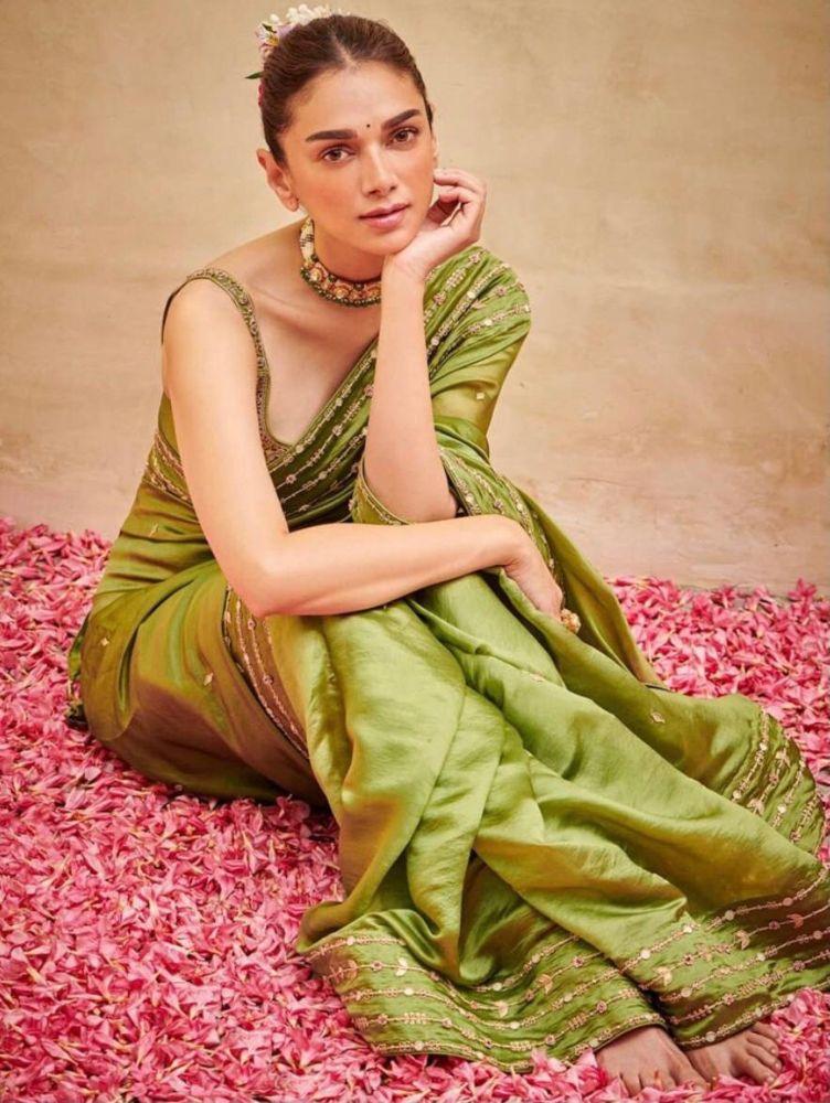 aditi rao hydari in pickle green saree from the label punit balana