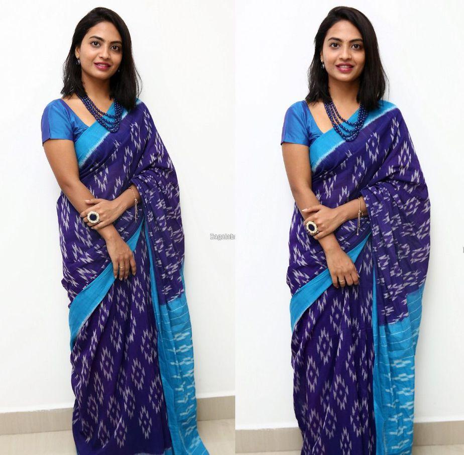 alekhya harika in a blue saree