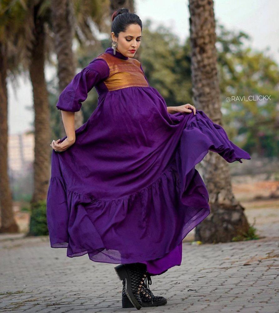 anasuya bharadwaj in a maxi purple ruffle dress for jabardast