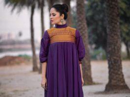 anasuya bharadwaj in full ruffle dress in purple