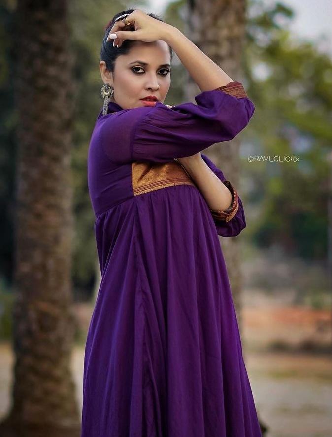 anasuya bharadwaj in maxi purple ruffle dress