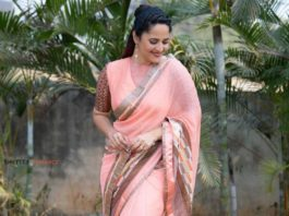 anasuya bharadwaj in peach brown saree for jabardast