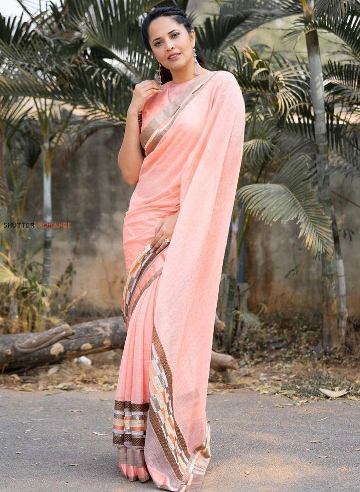 anasuya bharadwaj in peach saree look for jabardast