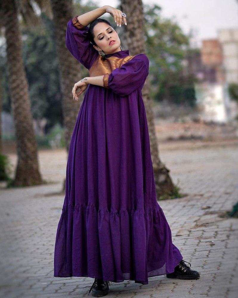 anasuya bharadwaj in purple maxi loose dress