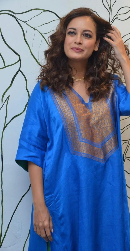 dia mirza in blue kurta an d green palazzo for movie interview