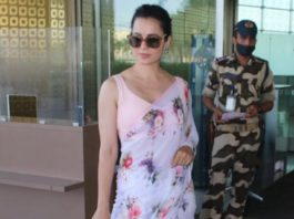 kangana ranaut in pink floral saree at airport
