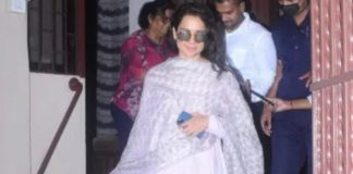 kangana ranaut in light purple suit at the studio