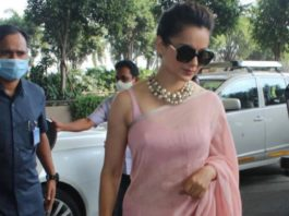 kangana ranaut in pink saree at airport