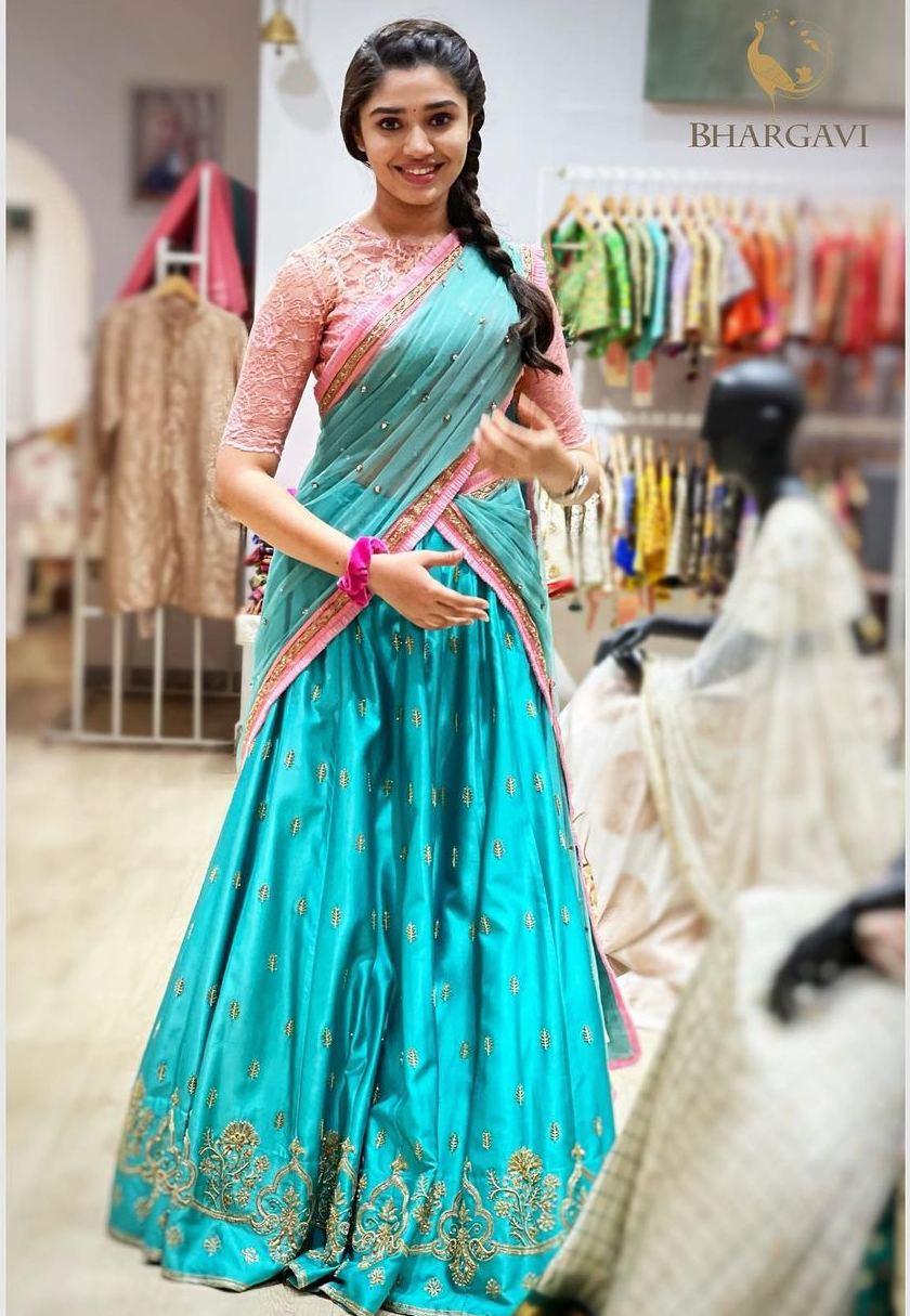 krithi shetty in blue pink half saree by bhargavi kunam