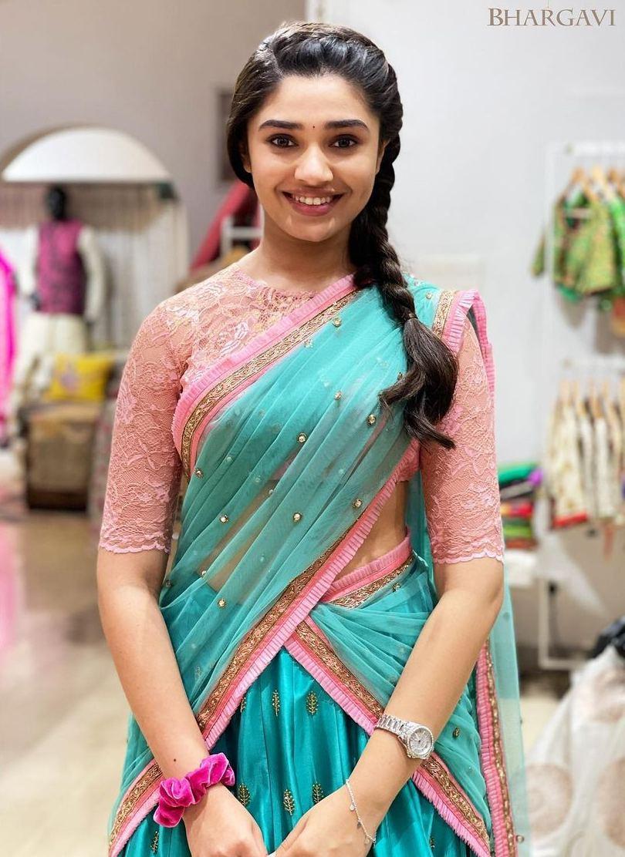 krithi shetty in pink and blue half saree by bhargavi kunam