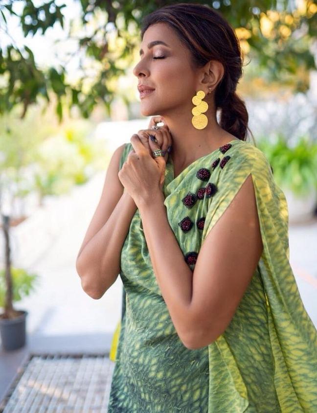 lakshmi manchu in green sleeveless top with golden earrings