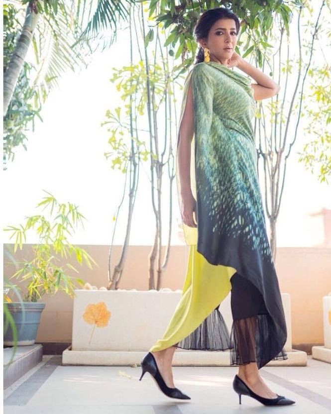 lakshmi manchu in green yellow cowl top and ruffle pants