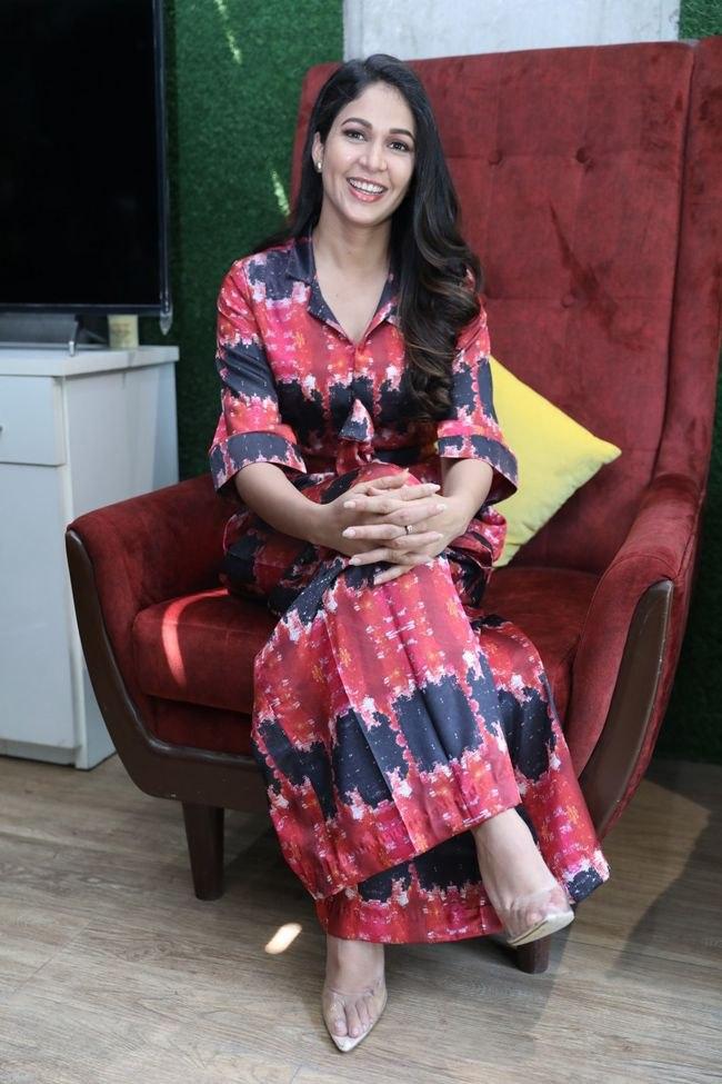 lavanya tripathi at a1 express interview in printed dress