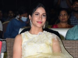 lavanya tripathi in embroidered net yellow saree