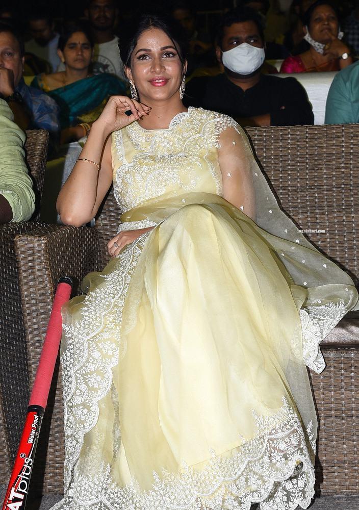 lavanya tripathi in yellow net embroidered saree