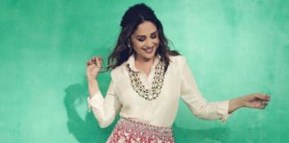 madhuri dixit in skirt and shirt set from label patine