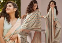 mithila palkar in a stripped saree from raw mango