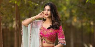 nabha natesh in a red lehenga for manashivarathri 2021