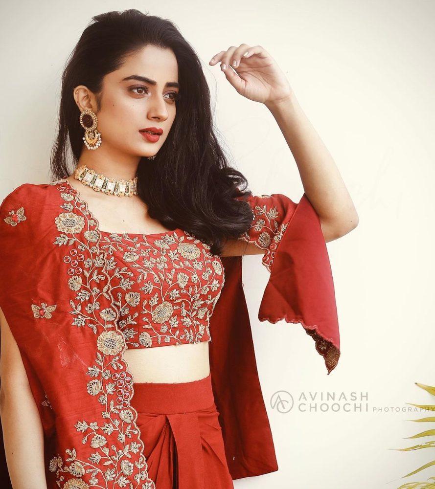 namitha pramod in embroidered jacket skirt