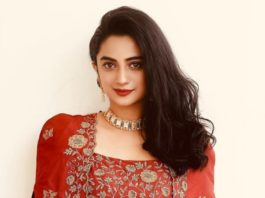 namitha pramod in red fusion wear jacket skirt