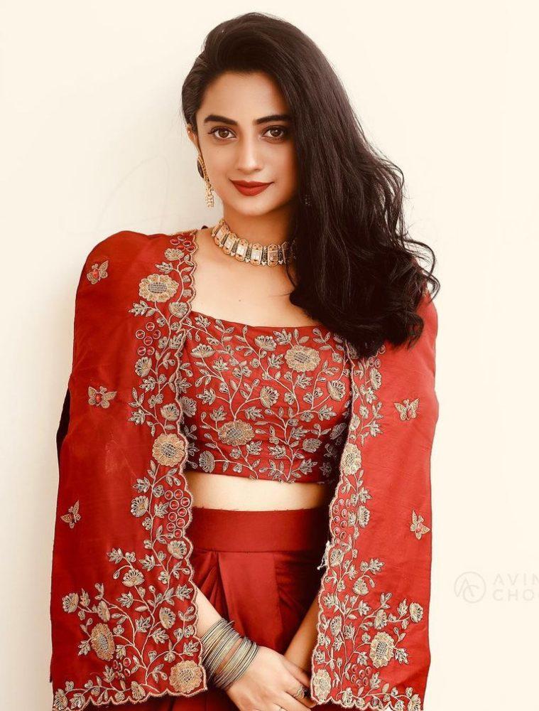 namitha pramod in red fusion wear jacket skirt