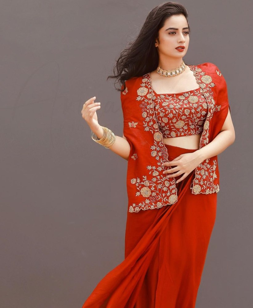 namitha pramod in red jacket and skirt outfit