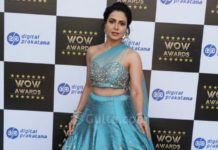 nandini rai at wow awards in blue lehenga