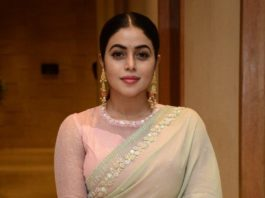 poorna at powerplay pre-release event in saree
